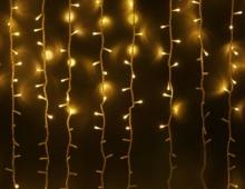 Гирлянда Штора (Curtain) желтая 2*1,5 м (белый кабель), гарантия 12 месяцев