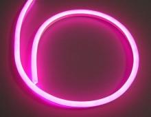 Гибкий неон, розовый 12V